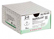 Нуролон 2/0 Johnson&Johnson Ethicon, обратно-режущая игла 26мм, окружность 3/8, 75см, 12шт доставка из г.Москва